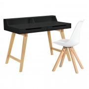[en.casa] Escritorio retro (85x110x60cm) negro lacado mate cajón con silla blanca