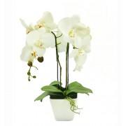 Aranjament Floral Orhidee Artificiala in Ghiveci cu 2 Tulpini, Aspect Natural, Culoare Alb