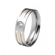 Aliança em aço inox confort reta 6mm c/ 2 filetes em ouro interrompidos e pedra de zircônia de 3mm