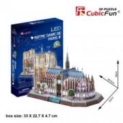 Catedrala Notre Dame Paris Franta - Puzzle 3D cu LED - 149 de piese