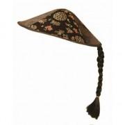 Geen Vietnamese hoed zwart met vlecht