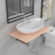vidaXL Meuble de salle de bain en deux pièces Céramique Chêne