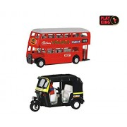 Playking Min Toy Combo of Auto Rickshaw & Best Double Decker Bus - Pull Back Action, Color May Vary