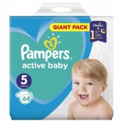 Scutece Pampers Active Baby 5 Giant Pack, 64 buc/pachet