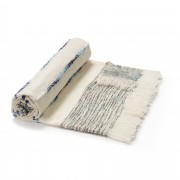 Kave Home Manta Ginnie branca e azul , en Tecido - Multicolor