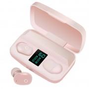 Bluetooth 5.0 Wireless Earphone TWS Power Display Headphones Power Bank Headset - Pink