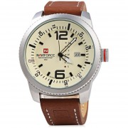 Caso De Plata NAVIFORCE NF 9063M Hombre Reloj De Cuarzo Reloj De Pulsera Resistencia (Amarillo)