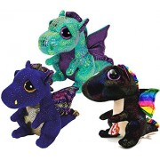 TY Beanie Boos Dragons- Saffire (Blue Dragon) Cinder (Green Dragon) & Anora (Black Dragon) Gift Set Bundle of 3 Stuffed Pets