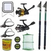 Pachet de pescuit cu 2 lansete eastshark 3 6m doua mulinete si accesorii