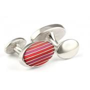 Mousie Bean Enamelled Cufflinks Oval Stripes 063 Tonal Red