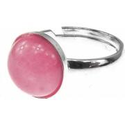 Inel argint reglabil cu jad roz natural 10 MM