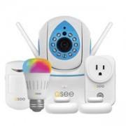 IP безжична камера с датчик за движение + аларма + RGB лампа + Smart Socket, 1.0 MP, 1280x720@20fps, 1/4 CMOS, 3.6mm, IR-10m, WiFi - Q-See QTW928-DL