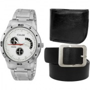 Crude Combo of White Dial Watch-rg715 With Black Leather Belt Wallet