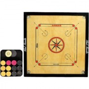 GSI Khel mandir Large Size 4mm Gloss finish Carrom board with coins striker and powder
