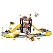 Kid Track Playset Acekid Children Solt Car City Construction Parking Garage with 3 Vehicles and 1 Plane