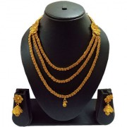 Pourni Traditional 3 String Jalebi Necklace Set with Jhumka Earring for bridal jewellery Antique Finish necklace Set - D