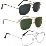 Phenomenal Aviator Sunglasses(Black, Green, Clear)