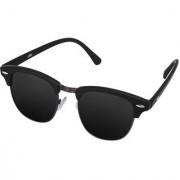 Silver Kartz Gun-Metal Clubmaster Wayfarer Sunglasses (Black)