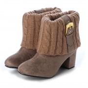 【SALE 40%OFF】マフモフ Mafmof Realta(レアルタ) ベルトラインリブニットのショートブーツ (オーク・スエード) レディース