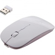 SUREELEE 2.4Ghz Slim Rechargeable Wireless Optical Gaming Mouse (2.4GHz Wireless White)