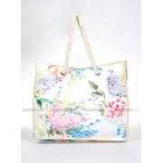 Çiçek Desenli Plaj Çantası - Beyaz - Gio & Mi