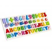 Puzzle cifre/litere Iso Trade, 45 x 18 x 8 cm, 39 piese, lemn, 3 ani+, Multicolor