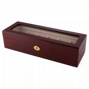 Warren Asher Abschließbare Goldfarbene & Kirschholz Uhrenbox - 6 Uhren