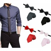 Men's Tie Combo of 4 Classic Slim Neckties with Bow Ties ColourBlack Grey Red Light Pink Casual Style Fashion