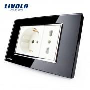 Priza dubla italiana Livolo cu rama din sticla - standard italian, negru