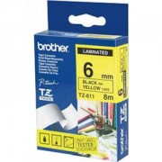 Ламинирана лента Brother TZ-611 Tape Black on Yellow , Laminated, 6mm - TZE611