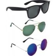 Zyaden Wayfarer, Aviator Sunglasses(Black, Green, Blue)