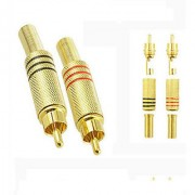10X Black + Red Gold Plated RCA Plug Audio Male Connector w Metal Spring