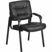 Flash Furniture Leather Side Chair - Black, 23.25Inch W x 26Inch D x 36Inch H, Model BT1404BK
