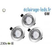 Kit 3 Spots LED GU10 Blanc Naturel encastrable chrome orientable Perçage 70mm Ref Kgu10-17