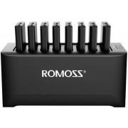 Acumulatori externi cu statie incarcare Romoss BE-401-03, 8x 10000 mAh, 2x USB, Universal (Negru)