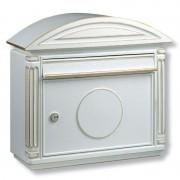 Die-cast aluminium letter box Venezia, white