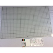 "Battle Grid Game Mat, Dry Erase, Gray, 24"" X 36"" with 3 Markers and Eraser: Double-Sided, 1"" squares"