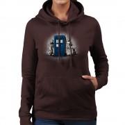 Cloud City 7 BankCy Doctor Who Tardis CyberMan Street Art kvinnor 's Hooded Sweatshirt Choklad Small