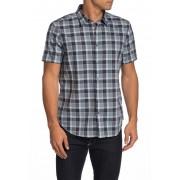 John Varvatos Star USA Short Sleeve Check Print Trim Fit Woven Shirt CORNFLOWER