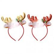 Amosfun Diadema de astas de Navidad Diadema de Pelo Lindo Accesorios de Tocado de Navidad para niños Suministros de Fiesta para Adultos 2 Piezas