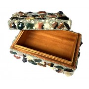 Handmade Jewellery Cum Multi Purpose Organiser Box for Wedding Bangles Multi Storage kit Cum Utility Boxes for Unisex for Keeping Essentials. Made up of Wood and Stones