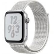 Smartwatch Apple Watch Nike+ Series 4 GPS, 44mm, Carcasa Silver Aluminium, Bratara Summit White Nike Sport Loop