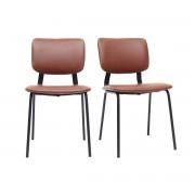 Miliboo Vintage-Stühle Hellbraun mit Beinen aus schwarzem Metall 2er-Set LAB