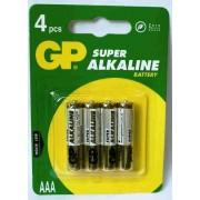 Baterii alkaline R3, AAA,1.5V,4buc/set - GP