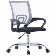 vidaXL Scaun birou cu spătar din plasă, gri, material textil