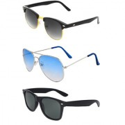 Zyaden Combo of 3 Sunglasses Aviator Wayfarer & Clubmaster Sunglasses