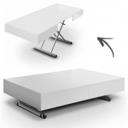 DECOME Table basse relevable extensible blanche Cassida