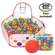 Pop Up Kids Ball Pit, Bundle Combo with 200 Colored Plastic Balls (BPA Free) - Playing Tent with Basketball Hoop - Ideal for Fun, Education and Therapy for Toddlers, Babies, kids - Indoor/Outdoor Play
