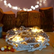 Adventskranz rund mit Teelichthaltern, Weihnachtsdeko Adventsgesteck, Holz Ø 30cm ~ Variantenangebot