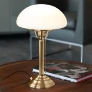 Berliner Messinglampen Pilzlampe / Schreibtischlampe / Tischlampe, Antik-Finish, Schirm Opalglas Weiss